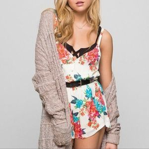 Lucca Couture Silky Tulip-Leg Romper Floral M